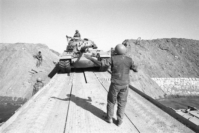 Sharon's 143rd Division, crossing the Suez Canal, in the direction of Cairo, 15 Oct. 1973. (Photo courtesy: Wikimedia)