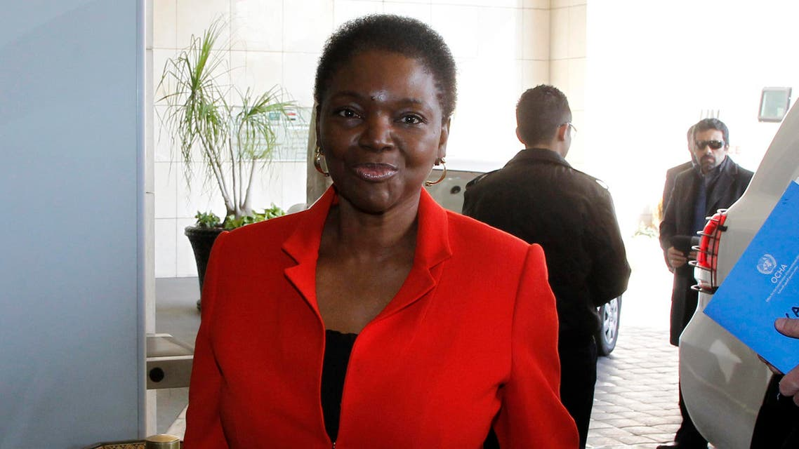 The United Nations Under-Secretary-General for Humanitarian Affairs and Emergency Relief Coordinator Valerie Amos arrives at a hotel in Damascus January 11, 2014. reuters