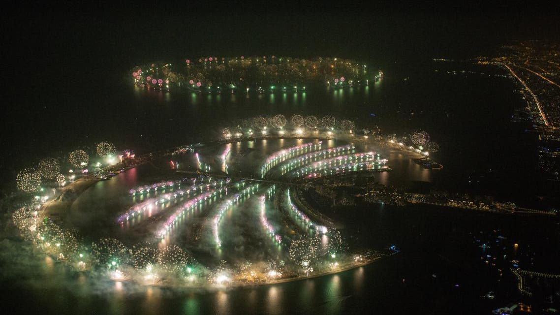 The glittering fireworks display spanned over 100 kilometers (60 miles) of the Dubai coast