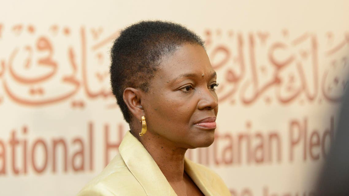 """U.N. humanitarian chief Valerie Amos attends a news conference after the first day of the """"International Humanitarian Pledging Conference for Syria"""" in Bayan Palace, Kuwait, January 30, 2013.  reuters"""
