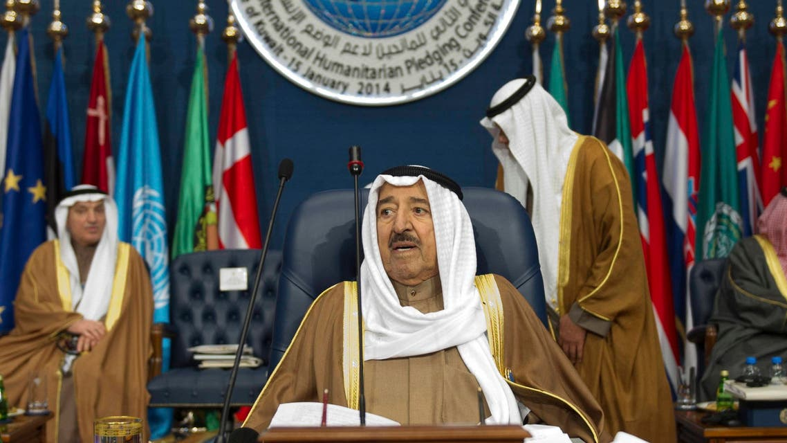 Kuwaiti Emir Sheikh Sabah al-Ahmed al-Sabah presides over the opening session of the Syrian Donors Conference at Bayan Palace Liberation Hall in Kuwait City January 15, 2014.