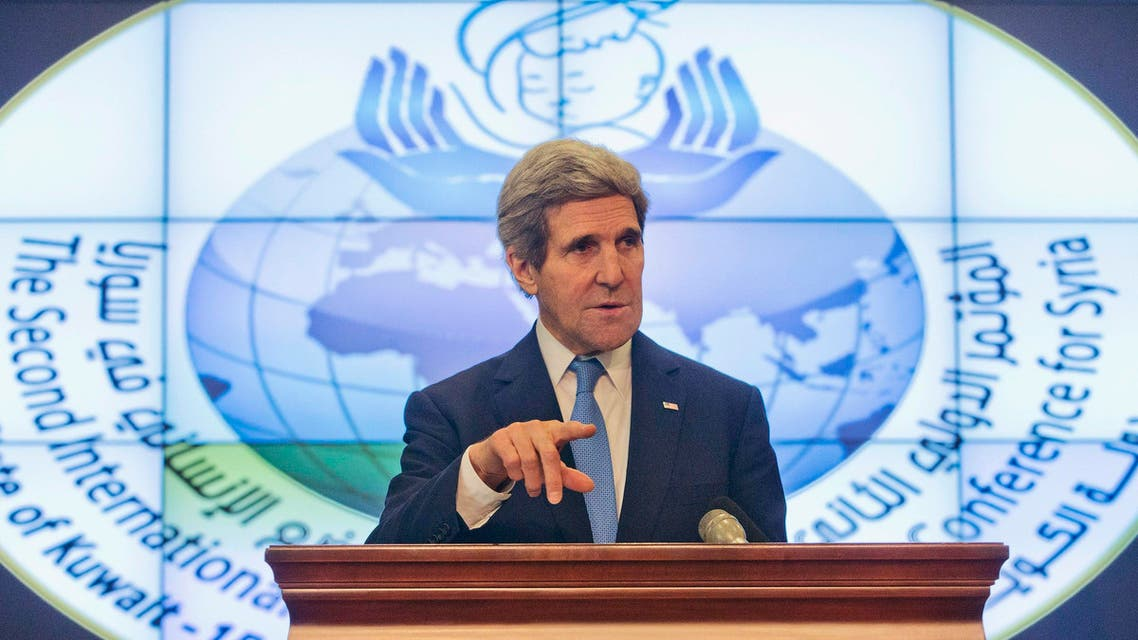 .S. Secretary of State John Kerry speaks during his news conference at Syrian Donors Conference at the Bayan Palace in Kuwait City Jan. 15, 2014. (Reuters)
