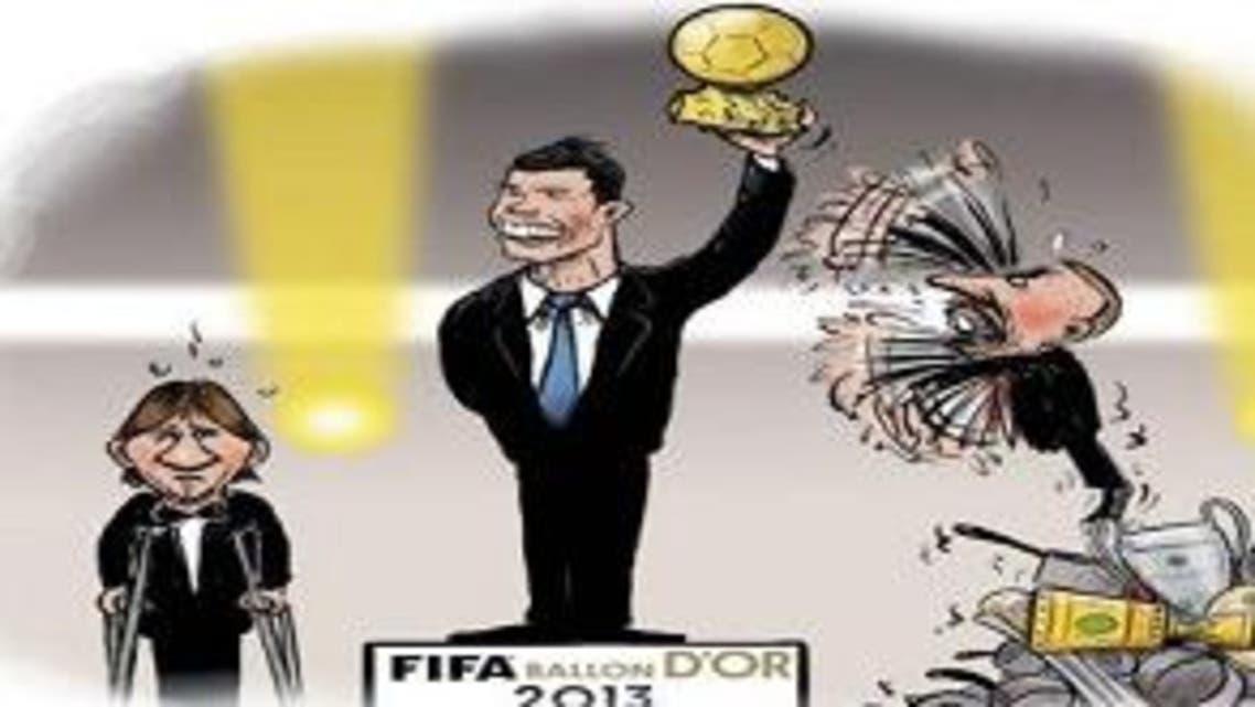 """كاريكاتير """"يسخر"""" من فوز رونالدو بالكرة الذهبية"""
