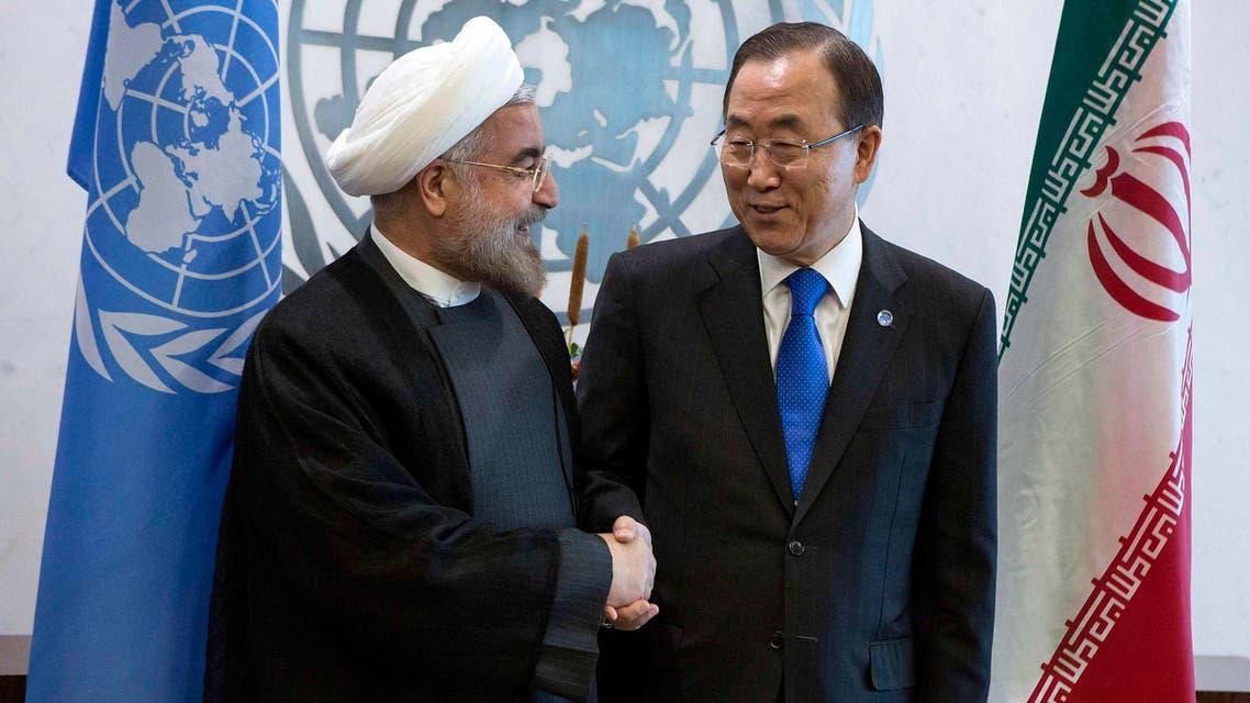 U.N. Secretary-General Ban Ki-moon (R) greets Iran's President Hassan Rowhani during the U.N. General Assembly at U.N. Headquarters in New York in this file photo taken Sept. 26, 2013. (Reuters)
