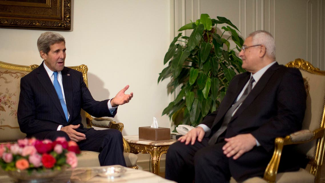 U.S. Secretary of State John Kerry meets with Egypt's interim President Adli Mansour (R) in Cairo, November 3, 2013. reuters