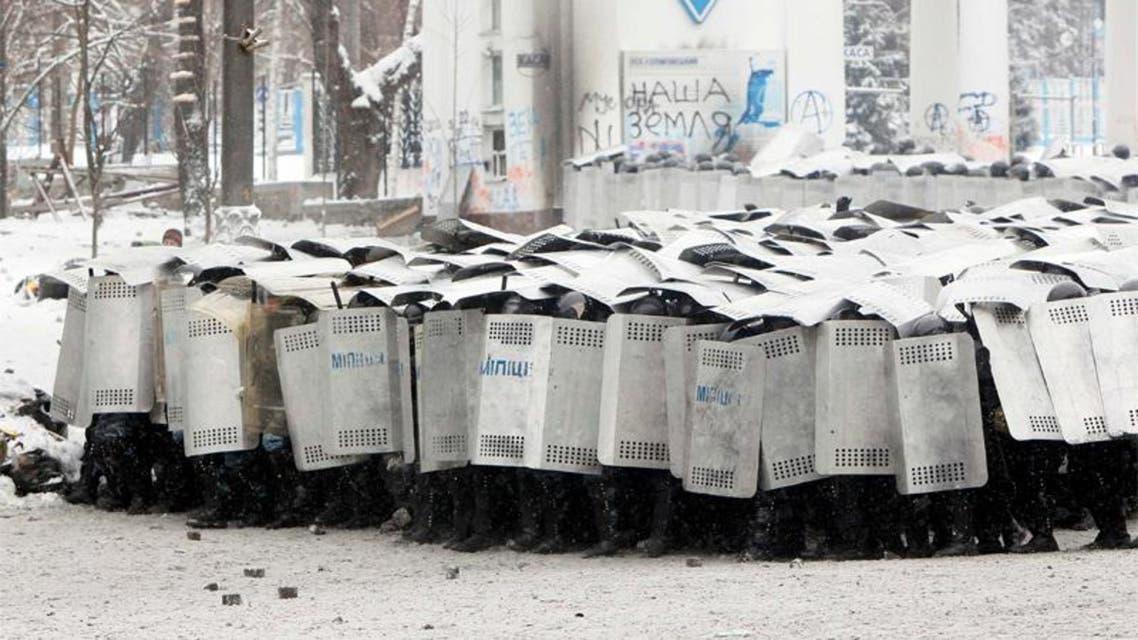 الصدامات بين المحتجين وشرطة كييف