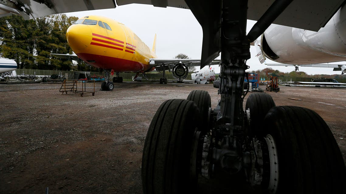 An A300 (L) set to be dismantled is seen in the recycling yard of Air Salvage International (ASI) in Kemble, central England Nov. 27, 2013. Following an interim deal over Iran's nuclear activities, Tehran will be allowed limited purchases of aircraft parts and repairs. (Reuters)