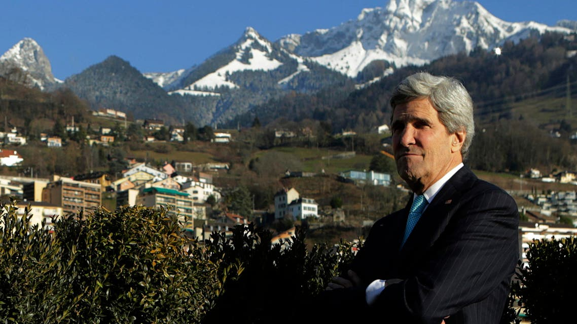 United States Secretary of State John Kerry pictured outside a meeting room in Montreux on Jan 22, 2014. (Reuters)