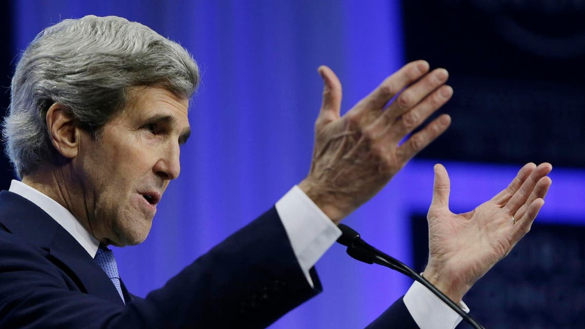 U.S. Secretary of State John Kerry delivers his speech at the World Economic Forum in Davos, Switzerland January 24, 2014. Kerry returns to the United States tomorrow.