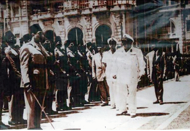 This still, taken from a 1950's Egyptian film, depicts Farouk leaving Ras el-Tin palace upon his abidication (Photo courtesy of Ahmed Kamel egyptianroyalty.net)