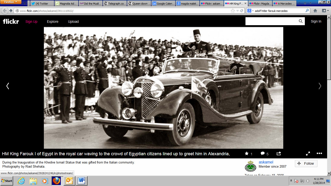 Farouk in 1938 - riding in the Mercedes 540K that Adolf Hitler had given him as a wedding gift (Photo courtesy of Ahmed Kamel egyptianroyalty.net)