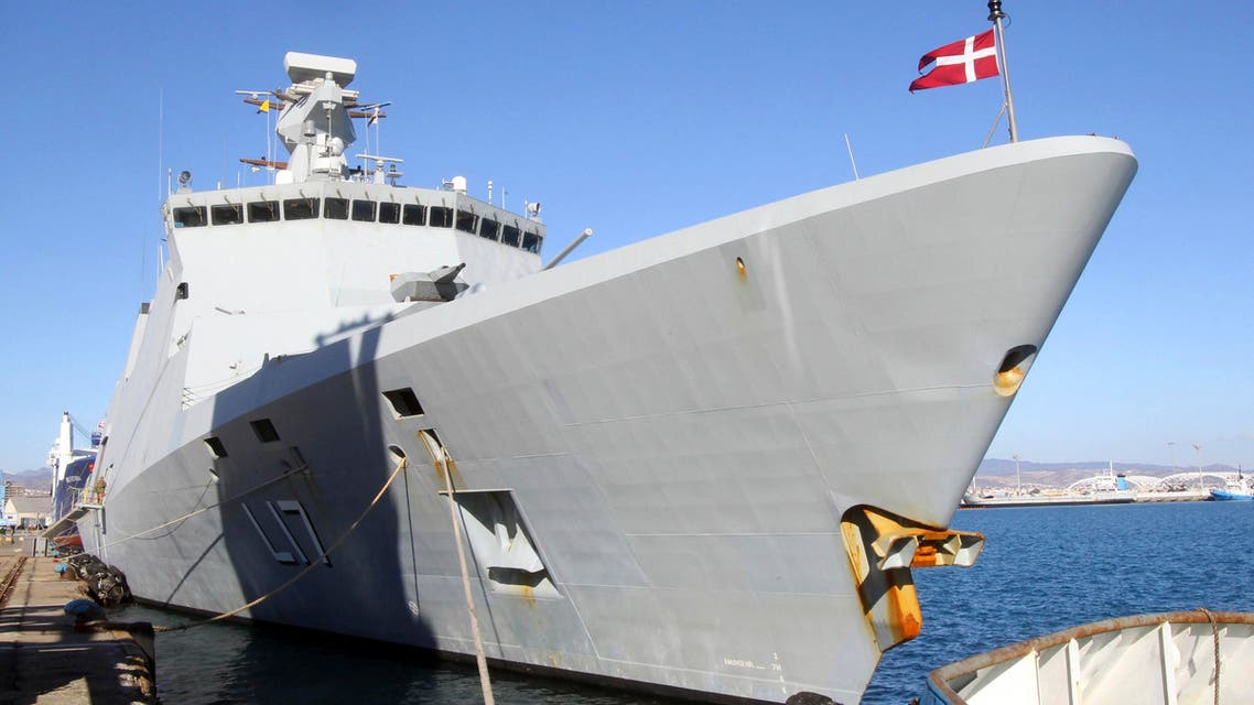 A Danish frigate, which is part of a joint Danish-Norwegian task force that will assist in overseeing the transportation of lethal chemical agents out of Syria, docks at Limassol port, Dec.14, 2013. (Reuters)