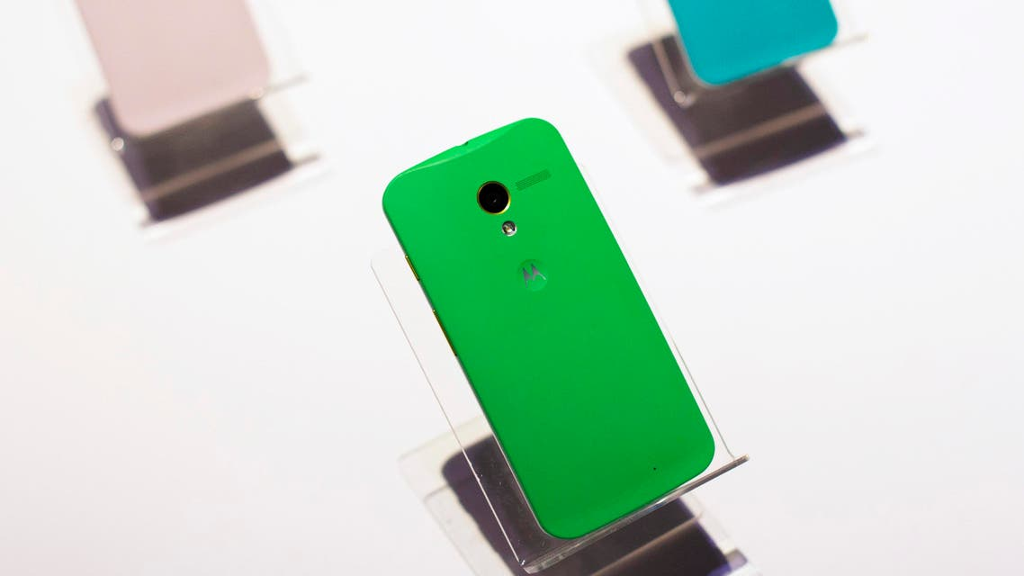 Examples of Motorola's new Moto X phones at a launch event in New York on August 1, 2013. (File photo: Reuters)