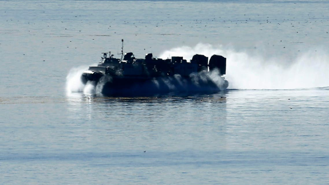 "U.S. marines in a Navy hovercraft take part in a week-long training exercise called ""Steel Knight"" along the pacific ocean in Camp Pendleton, California"