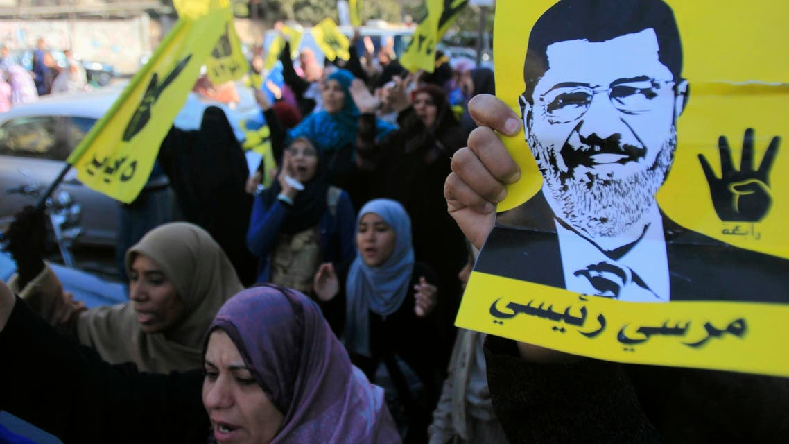 Supporters of ousted Egyptian President Mohammad Mursi shout slogans against the military and interior ministry during a protest in Cairo. (Reuters)