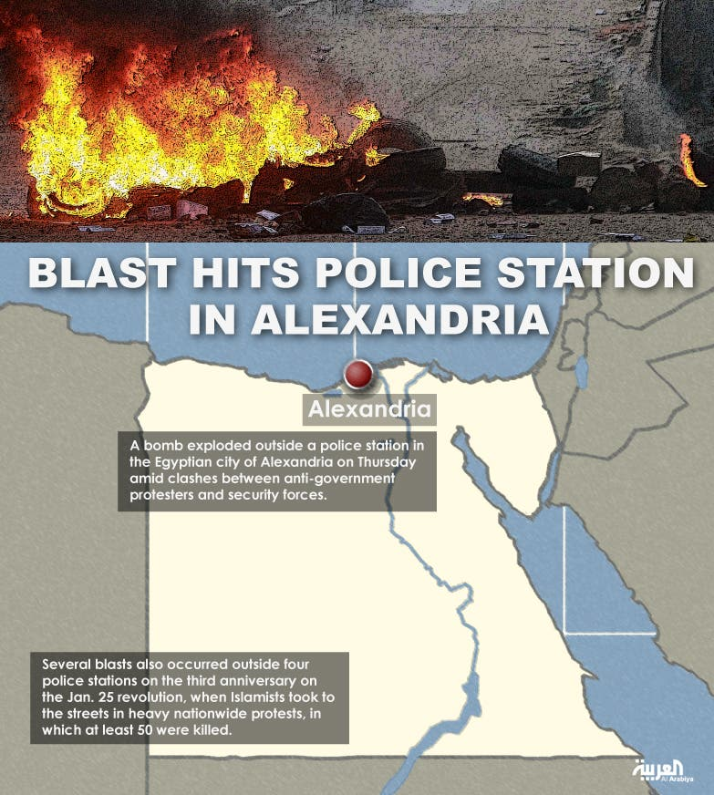 Infographic: Blast hits police station in Alexandria