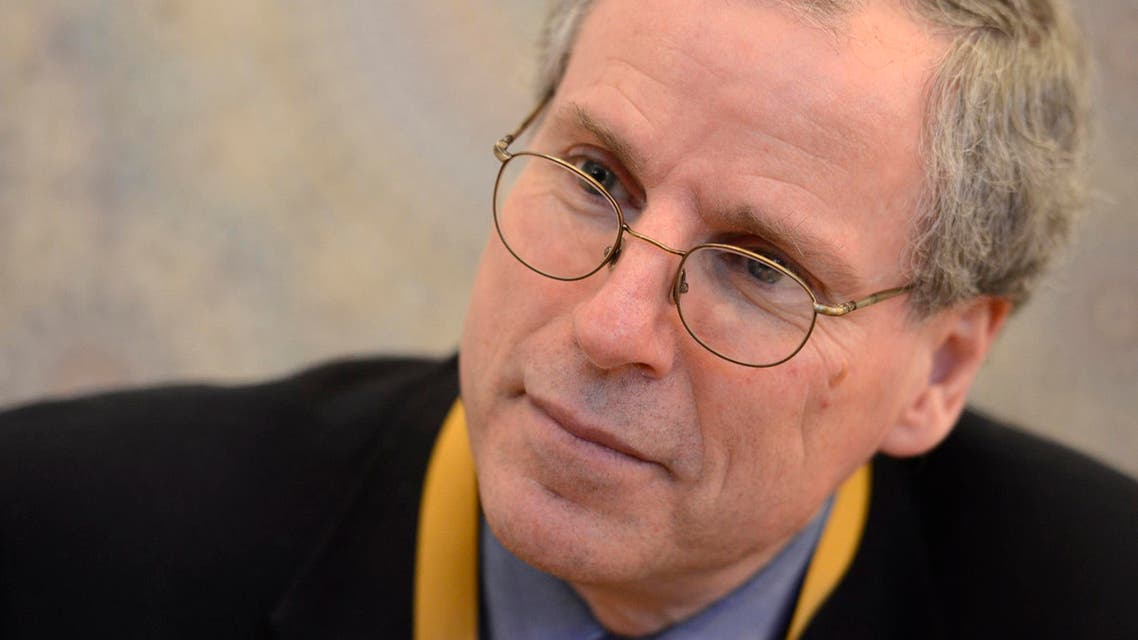 United States Ambassador to Syria Robert Ford speaks to Reuters during the International Humanitarian Pledging Conference for Syria at Bayan Palace on the outskirts of Kuwait City