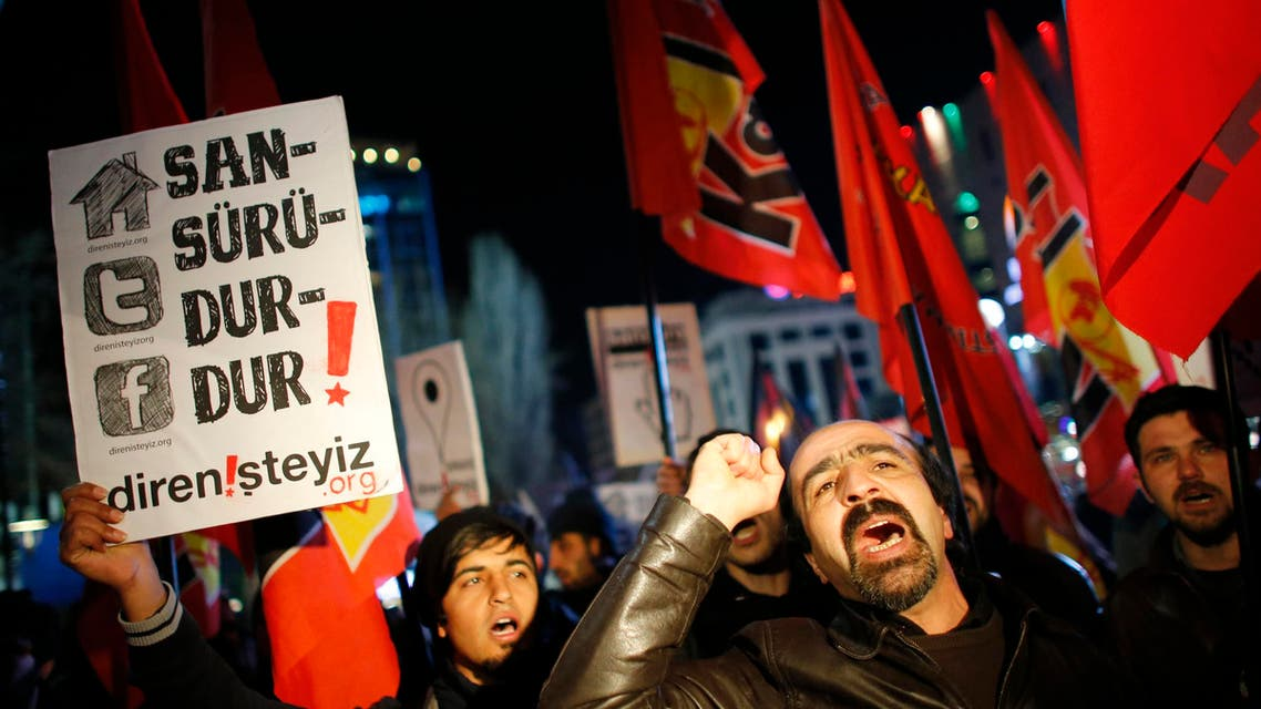 Protesters demonstrate against new controls on the internet approved by the Turkish parliament. (Reuters)