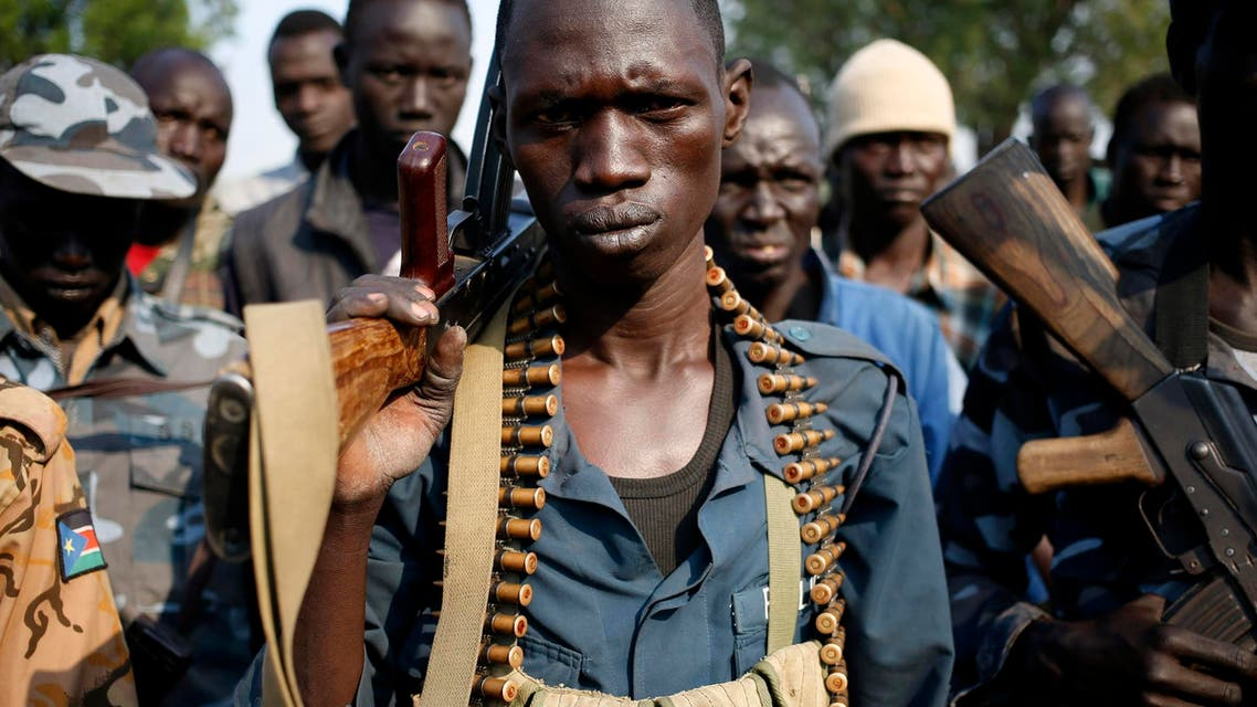 Rebel fighters gather in a village in Upper Nile State, Feb. 8, 2014. (Reuters)