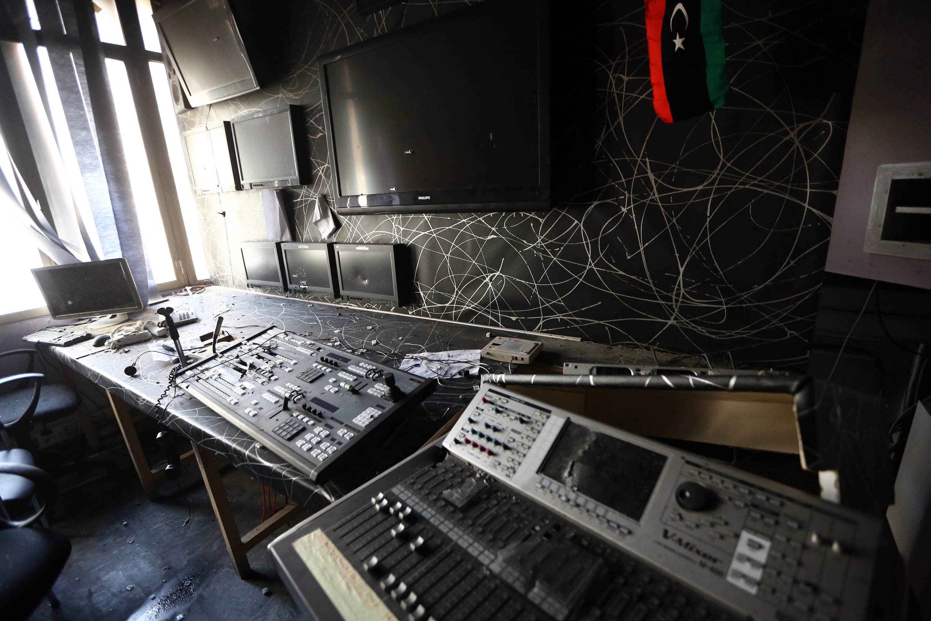 A damaged room pictured after the attack. (AFP)
