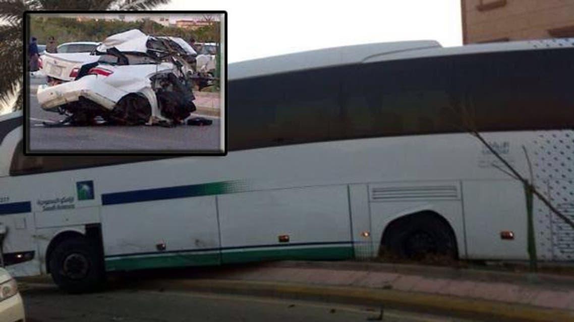 في حادثة مرورية حافلة أرامكو في السعودية