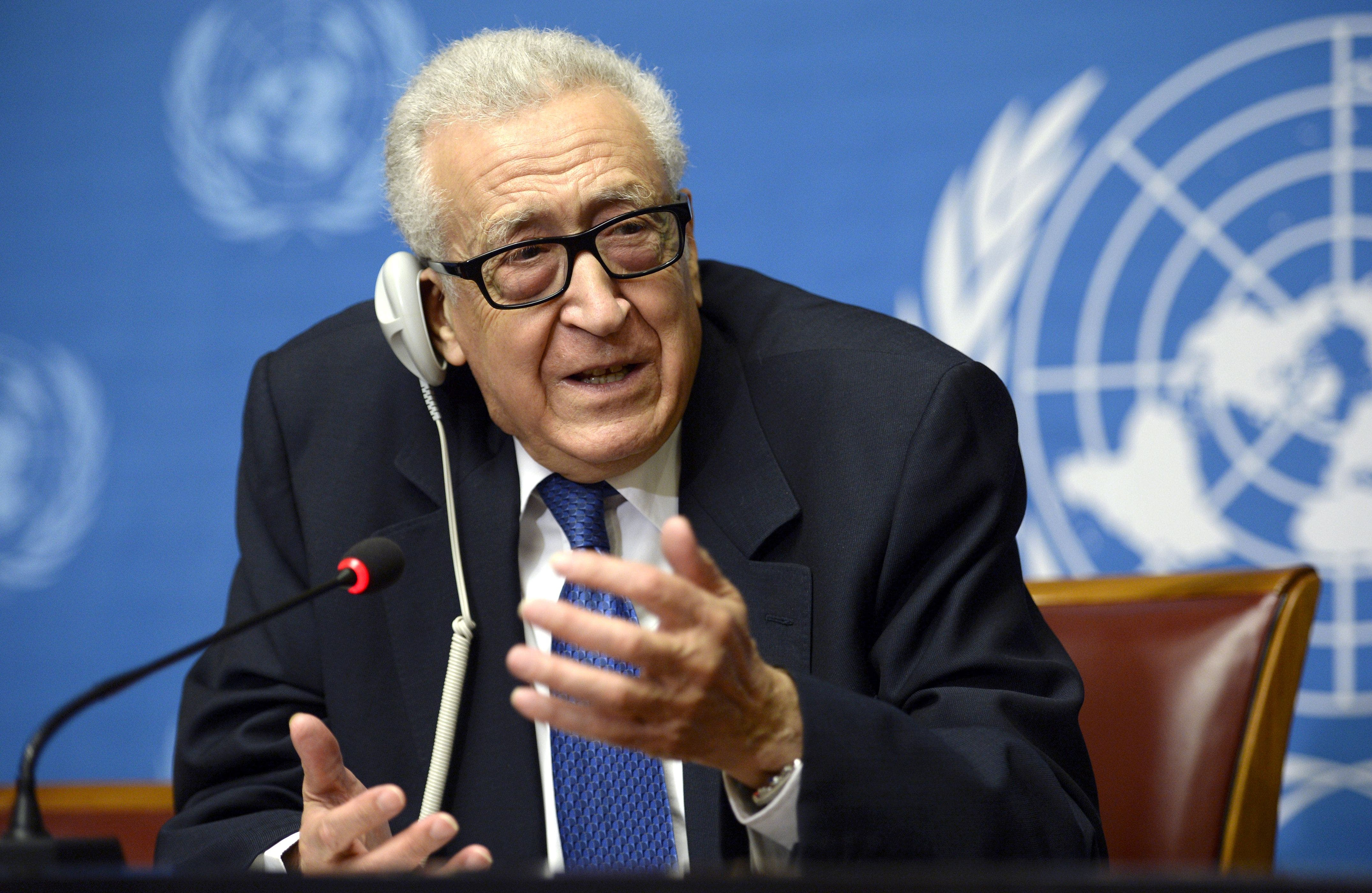 U.N. mediator Lakhdar Brahimi gestures as he talks during a press conference on the Syrian peace talks at the United Nations headquarters in Geneva on February 15, 2014. (AFP)