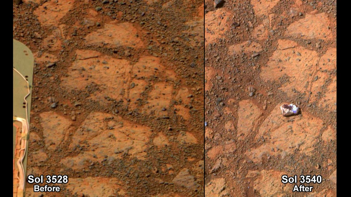 A NASA combination handout photograph shows the surface of Mars in front of the Mars rover on December 26, 2013 (L) and on January 8, 2014.