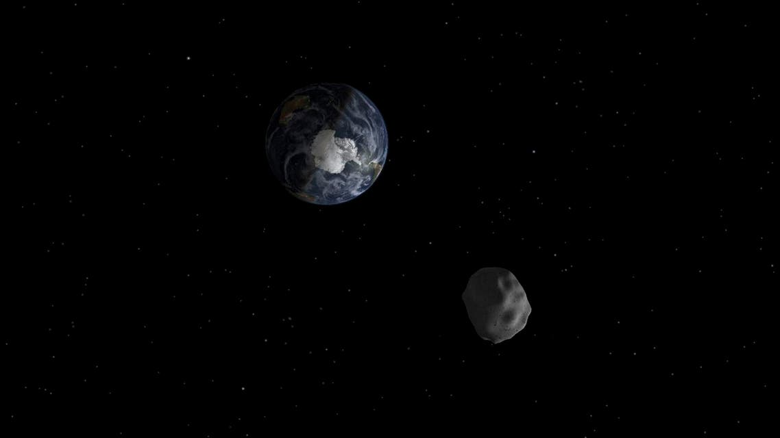 The passage of a previous asteroid (2012 DA14) through the Earth-moon system, is depicted in this handout image from NASA. (File: Reuters)