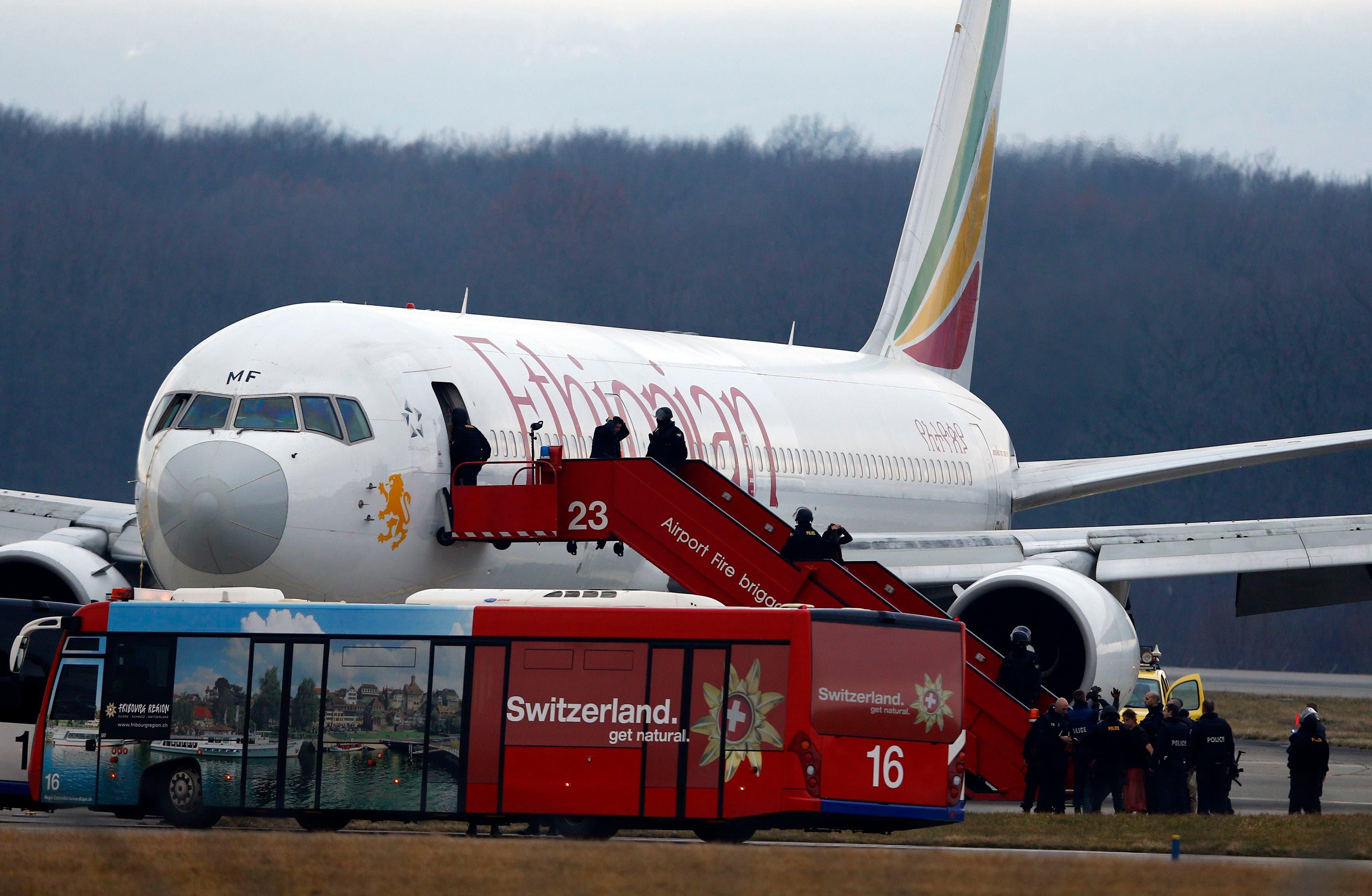 Hijacked aircraft lands at Geneva airport