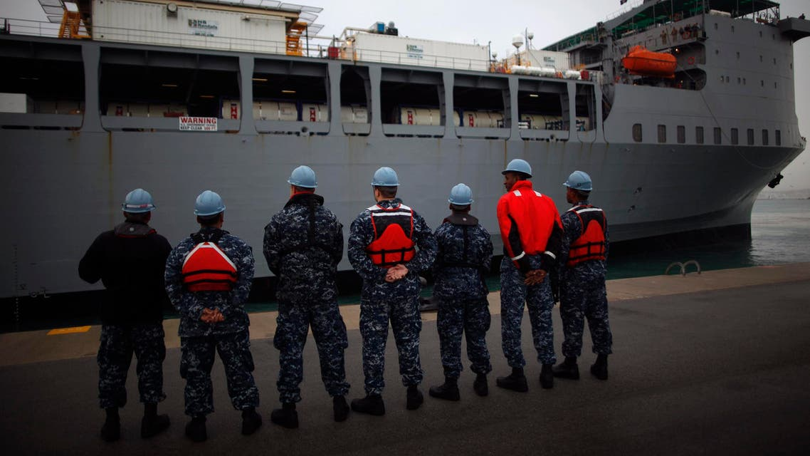 The U.S. MV Cape Ray, a ship equipped to destroy chemical weapons, arrived at Spain's naval base of Rota where it will remain indefinitely until Syria's chemical arsenal is brought to the Italian port of Gioia Tauro in Calabria. (Reuters)