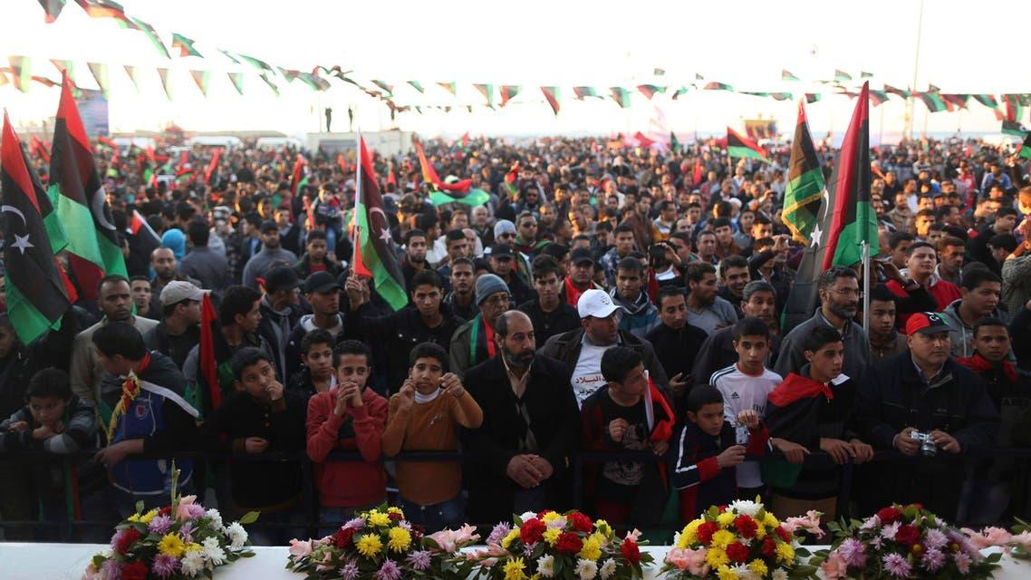 Libyans celebrate the third anniversary of the  uprising against Muammar Qaddafi