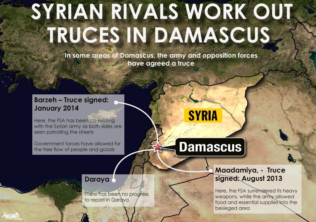Infographic: Syrian rivals work out truces in Damascus