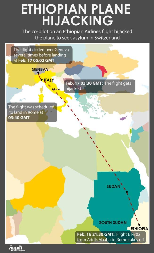 Infographic: Ethiopian plane hijacking