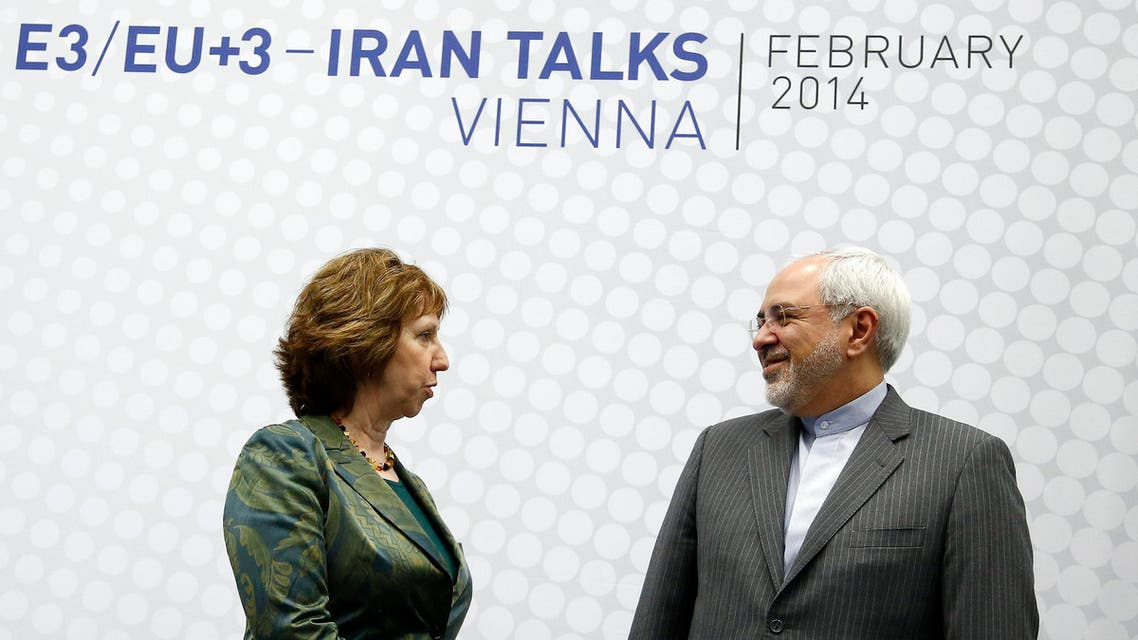 REFILE - CORRECTION IDENTIFICATION European Union foreign policy chief Catherine Ashton (L) and Iranian Foreign Minister Mohammad Javad Zarif pose before the start of a conference in Vienna