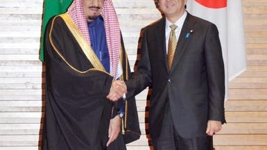 حفل استقبال الرئيس الوزراء الياباني  شينزو آبي لولي العهد الأمير سلمان بن عبدالعزيز
