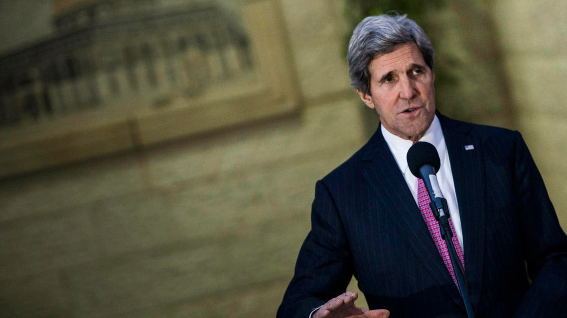 U.S. Secretary of State John Kerry speaks to the media after a meeting with Palestinian negotiator Saeb Erekat and Palestinian President Mahmoud Abbas in the West Bank city of Ramallah January 4, 2014. reuters