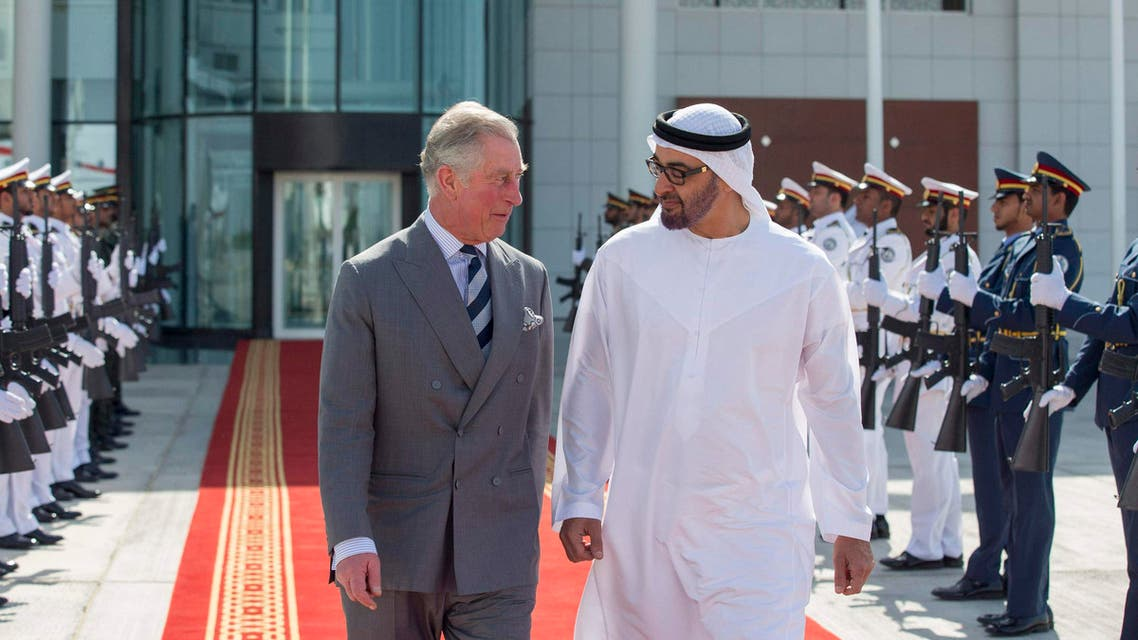 Britain's Prince Charles and United Arab Emirates Crown Prince Mohammed bin Zayed al Nahyan (R) review the honor guard in Abu Dhabi in this Feb. 21, 2014 picture provided by WAM. (Reuters)