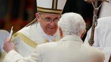 Benedict joins Francis in unprecedented ceremony