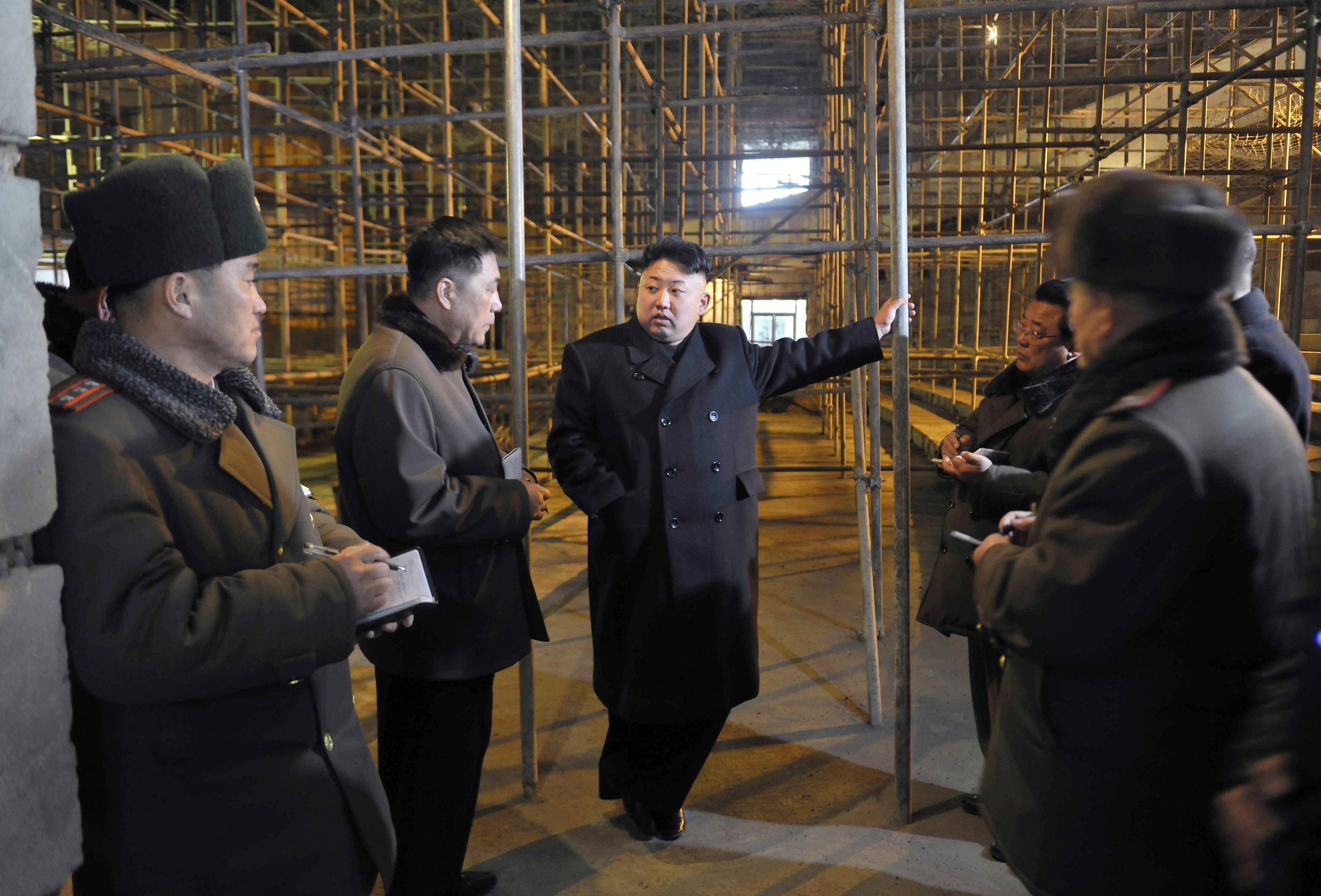 North Korean leader Kim Jong Un visits the Songdowon International Children's Camp now being remodelled, in this undated photo released by North Korea's Korean Central News Agency (KCNA) in Pyongyang, Feb. 24, 2014.  (Reuters)