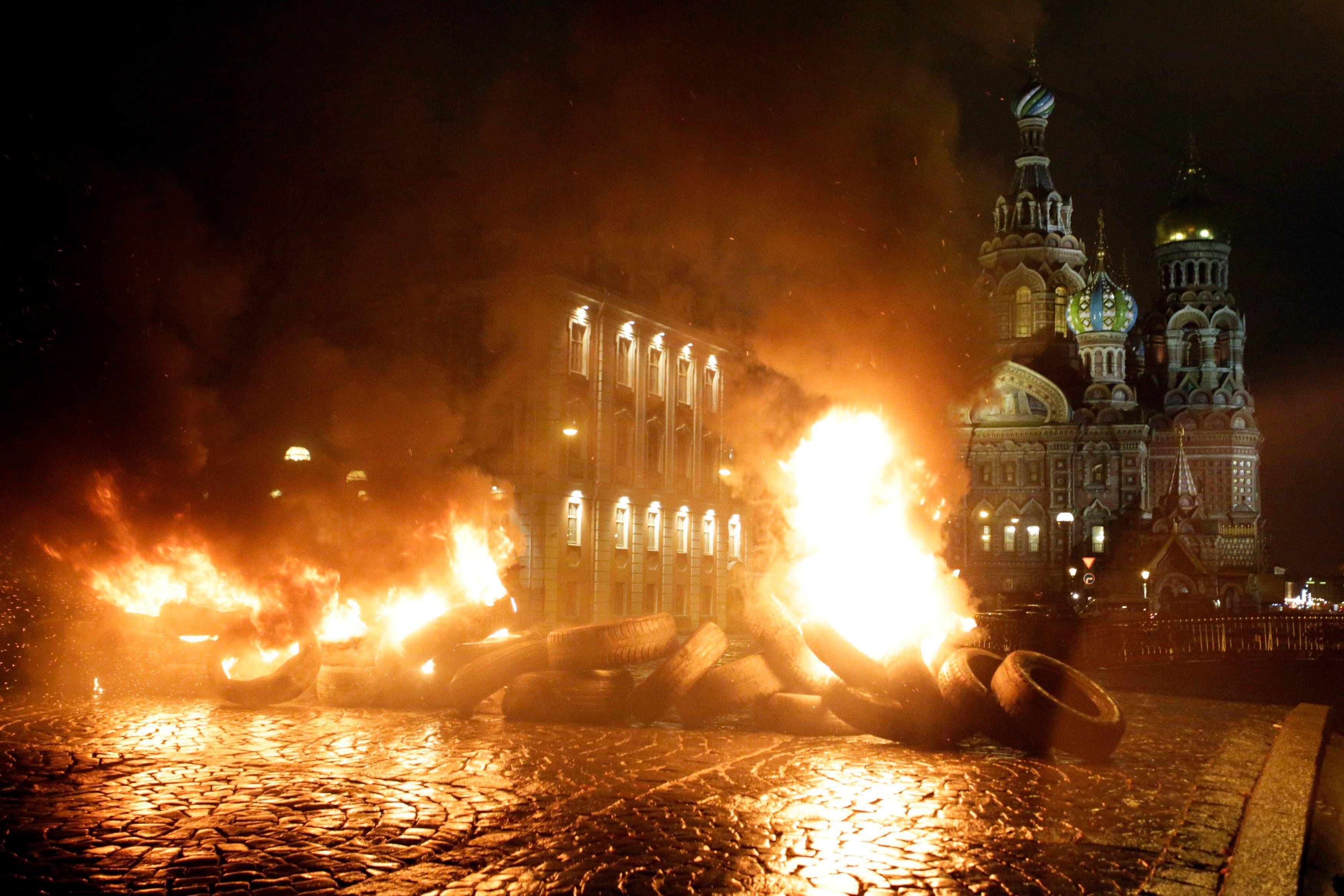 جانب من اعمال العنف في العاصمة الاوكرانية كييف
