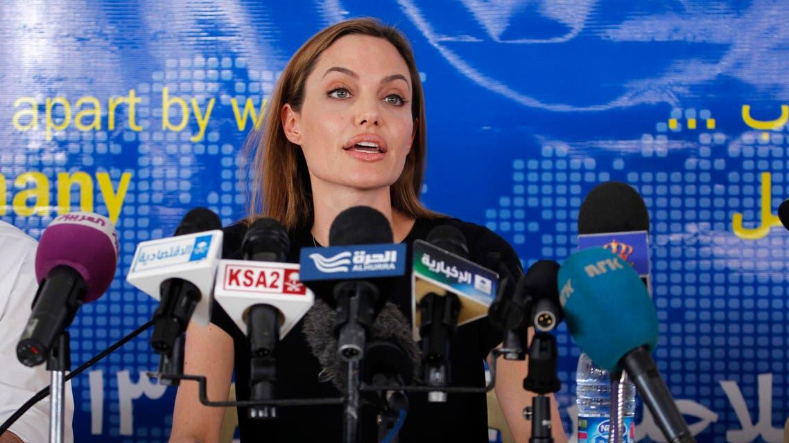 Actress Angelina Jolie, the U.N. refugee agency's special envoy, at the Al Zaatri refugee camp in Jordan last year. (Reuters)