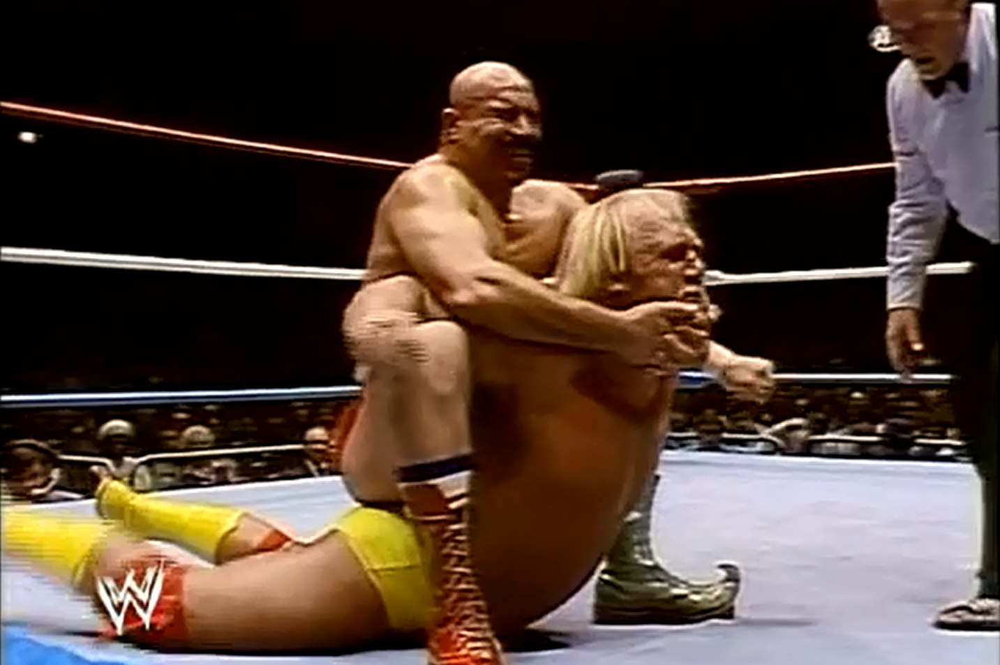 The Iron Sheik wrestling with Hulk Hogan, 1984 (Photo courtesy of WWE)