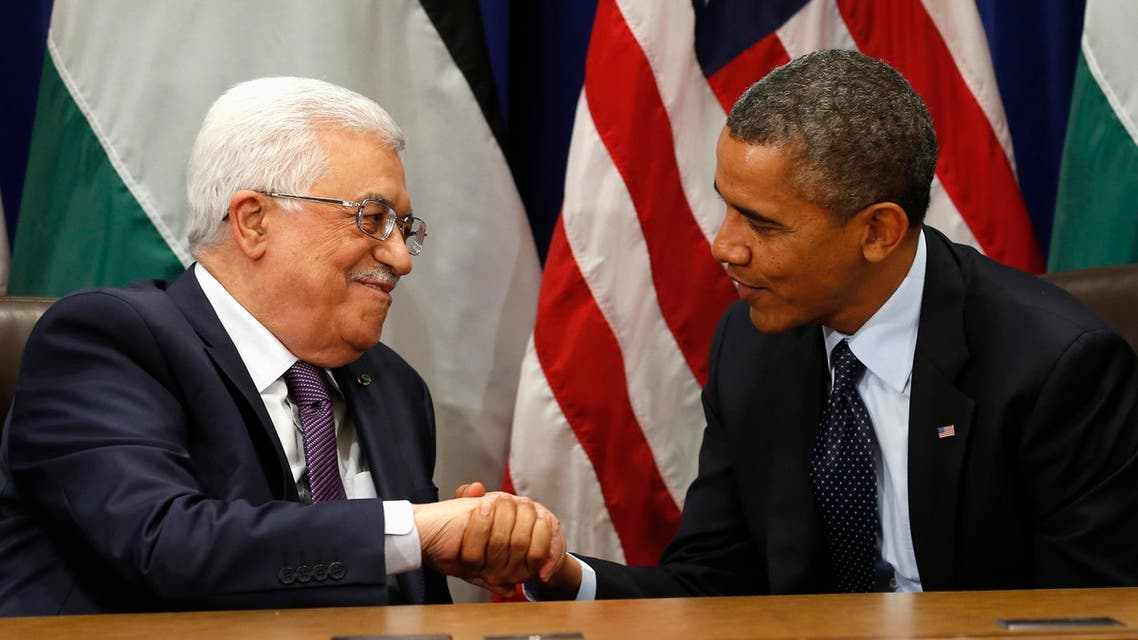 U.S. President Barack Obama (R) meets with Palestinian President Mahmoud Abbas during the United Nations General Assembly in New York September 24, 2013. reuters
