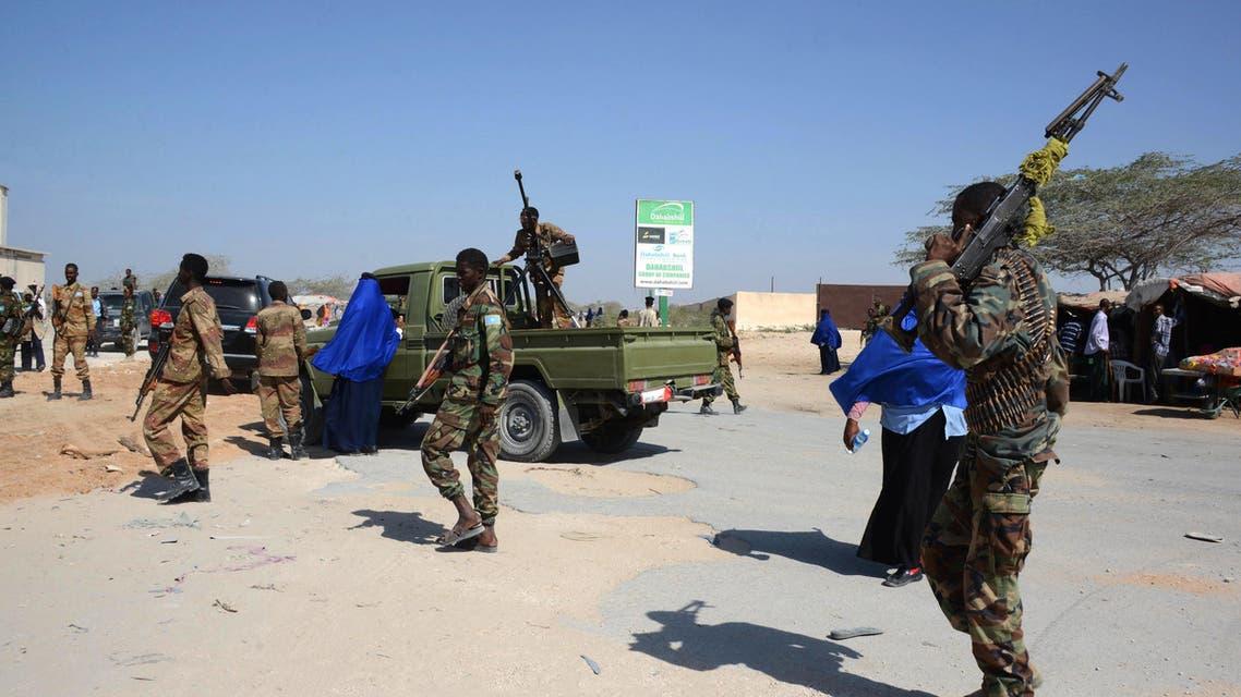 Somali soldiers patrol the streets of Mogadishu on Feb. 22, 2014. (AFP)