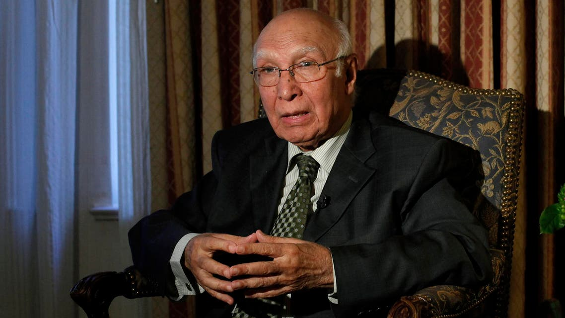 Advisor to the Pakistani Prime Minister on Foreign Affairs and National Security Sartaj Aziz is seen during an interview during the United Nations General Assembly in New York, Sep. 29, 2013. (Reuters)