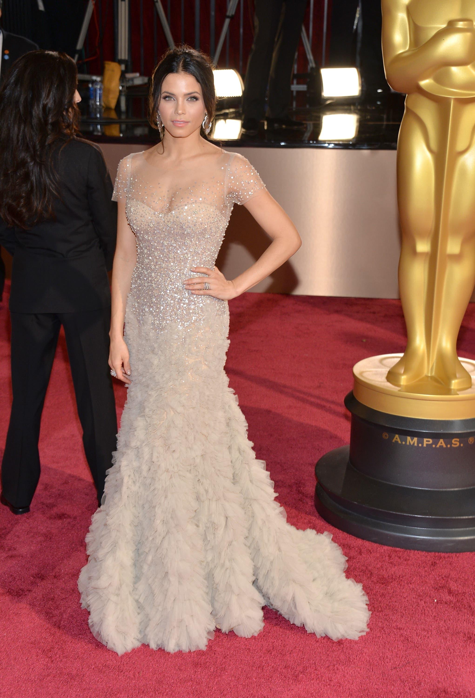 Jenna Dewan-Tatum wearing Reem Acra (AFP)