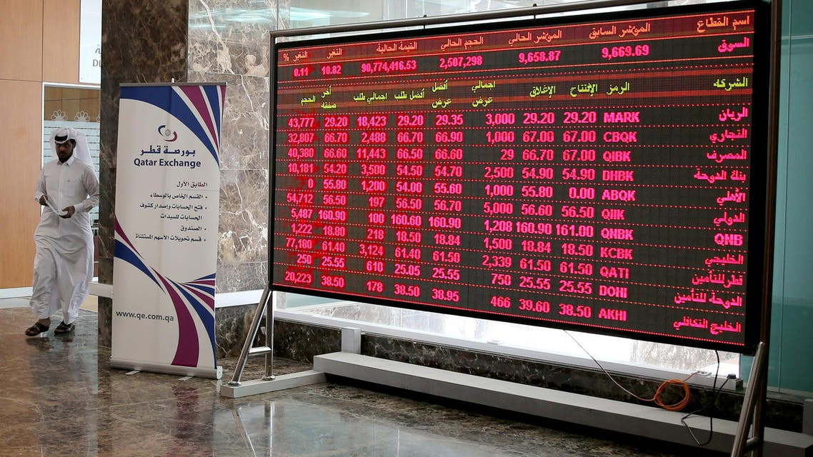 In the red: Stocks fell sharply in Doha after three Gulf states withdrew their ambassadors. (File photo: Reuters)