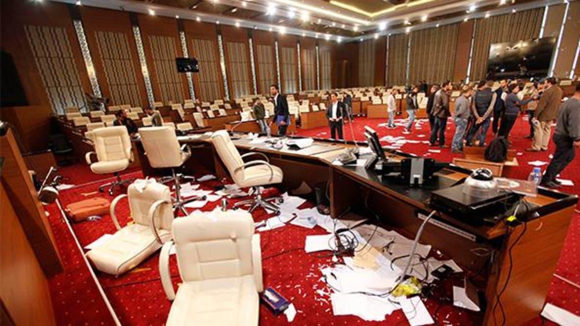 مقر المؤتمر الوطني الليبي بعد الاعتداء عليه