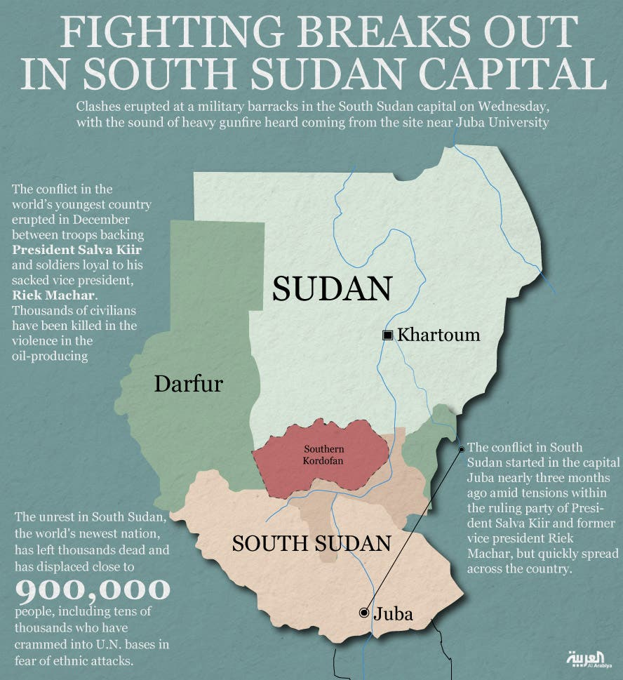 Infographic: Fighting breaks out in South Sudan capital
