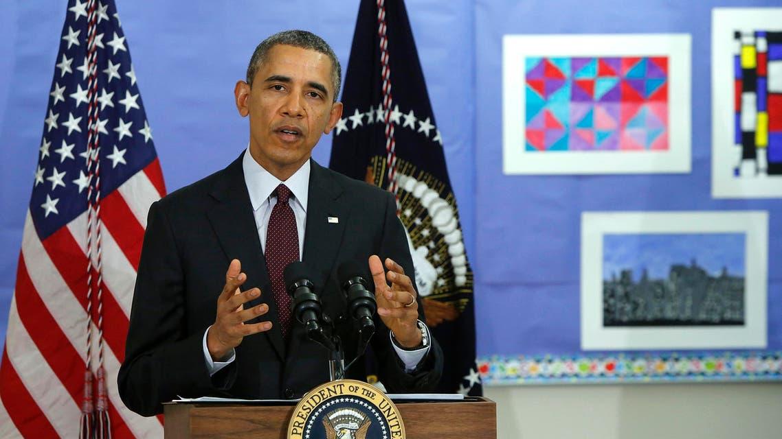 U.S. President Barack Obama chose a school as the venue to make remarks on the budget. (Reuters)